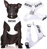 chien sourd White Coded Nylon rembourré étanche Medium Dog Harness Vest (Non / audience limitée) prévient les accidents en avertissant les autres de votre chien à l'avance