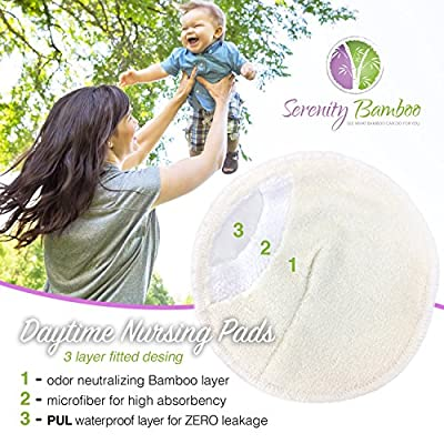 Serenity Bamboo New 12cm contoured nursing pad 8 piece set