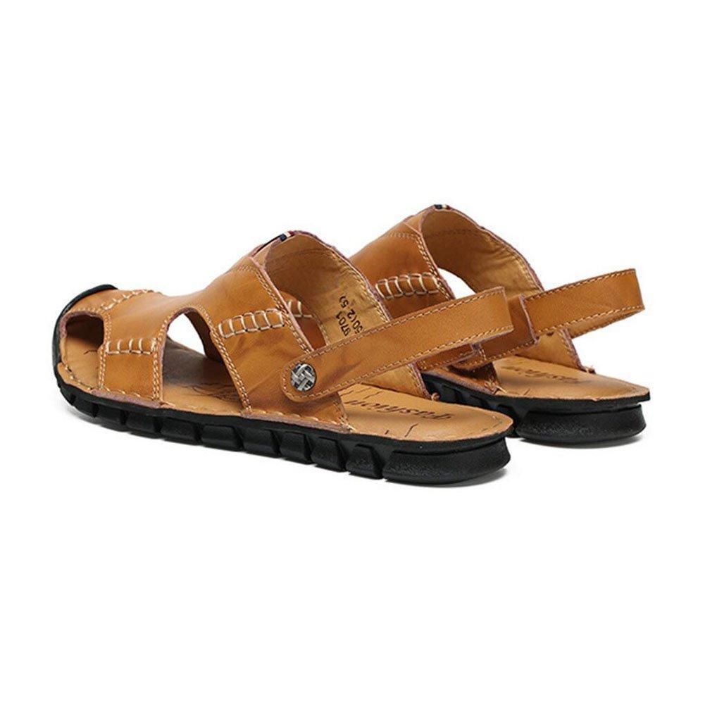 QSYUAN Nuevos Zapatos De Ocio De Los Hombres Sandalias De Fondo Plano Pedal & Comfort Transpirable Amortiguación Equilibrio Antideslizante Bolsa Toe Beach Zapatos Y Zapatos Casuales,Yellow,44 44 Yellow
