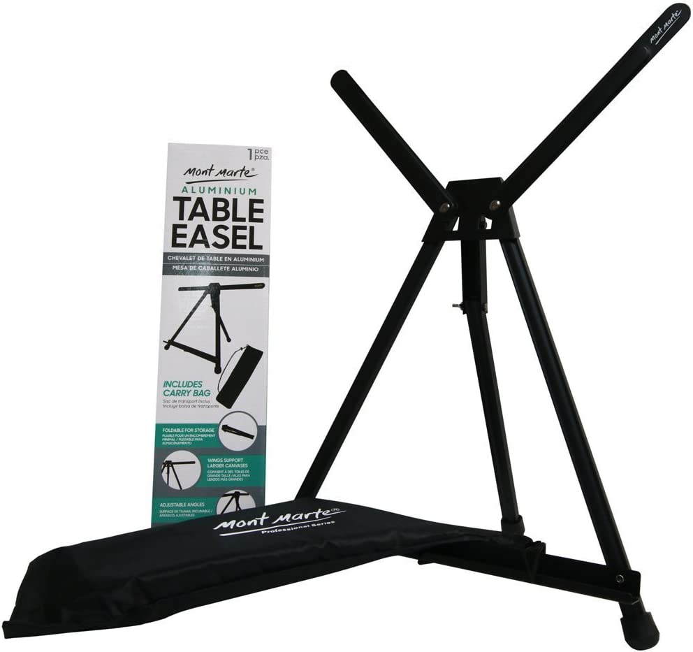 Mont Marte Signature Tabletop Easel with Wings, Holds Canvases up to 20in (50cm) in Height, Angle Adjustment, Includes Carry Bag