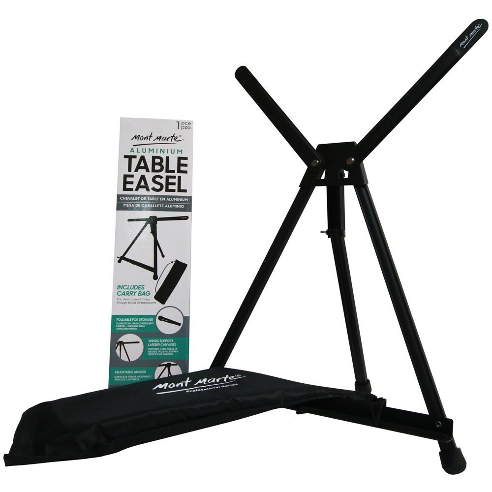 Mont Marte Aluminum Tabletop Art Easel, Tripod Metal Easel Stand with Carry Bag, Great for Tabletop Painting, Drawing, Design and Display