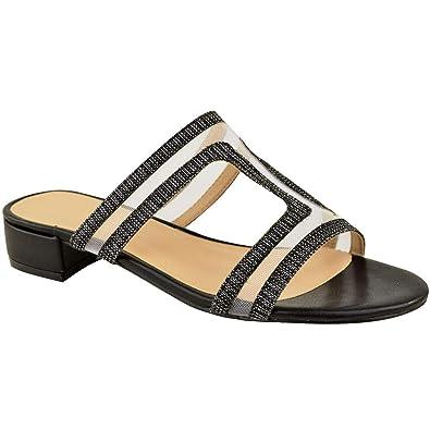 Womens Ladies Slip On Sliders Flat Diamante Sandals Perspex Mule Comfy Shoe Size