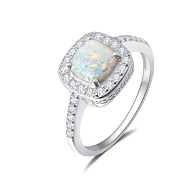 9fc556791d8b19 Carleen 14K White Gold Plated 925 Sterling Silver Created White Fire Opal  and Cubic Zirconia Halo Engagement Ring Jewelry for Women Girls Mothers Day  Gifts ...