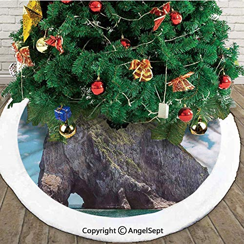 Halloween Cake Decorations Nz (Famous Shape Rock with The Grand Hole in Bay of Islands Nz Cavern Peace Photo,Christmas Tree Skirt Mat,Blue Grey,36 inches,Christmas Holiday Party)