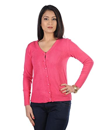 James Scot Solid Full Sleeve Pink Colour Woolen Cardigan Sweater ...