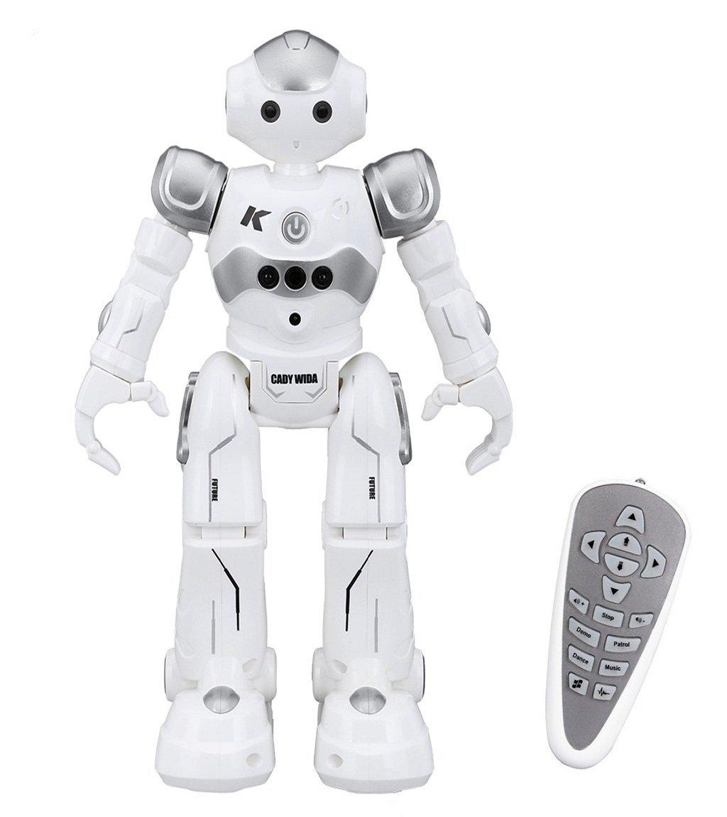 Virhuck Robots Radiocommandés R2 Enfants, Programmation Intelligente Gesture Sensing, Danser, Chanter Marcher, Parler Anglais ,Charge USB Cadeau Noël Anniversaire Enfant- Gris product image
