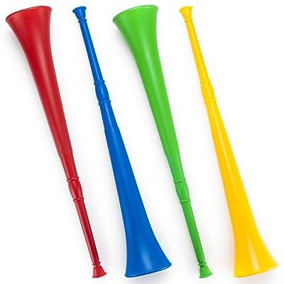 Pudgy Pedro's Plastic Vuvuzela Stadium Horns (4-Pack), 26-Inch: Sports & Outdoors