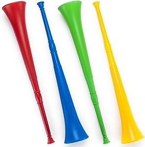 Pudgy Pedro's Plastic Vuvuzela Stadium Horns (4-Pack), 26-Inch