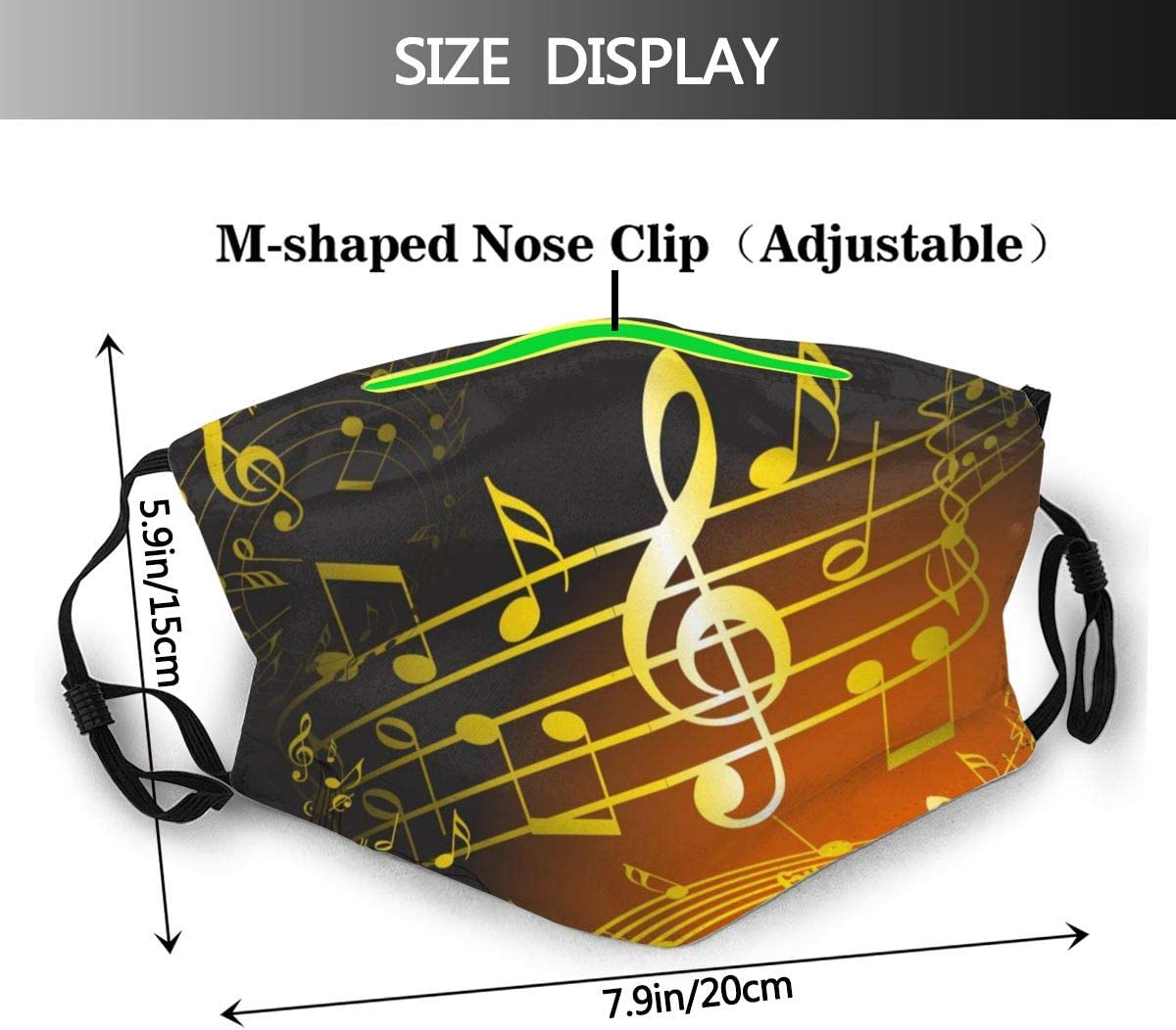 Adults Anti-Dust Mouth Protection Gold Musical Note Music Half Face Adjustable for Women Men with Filter