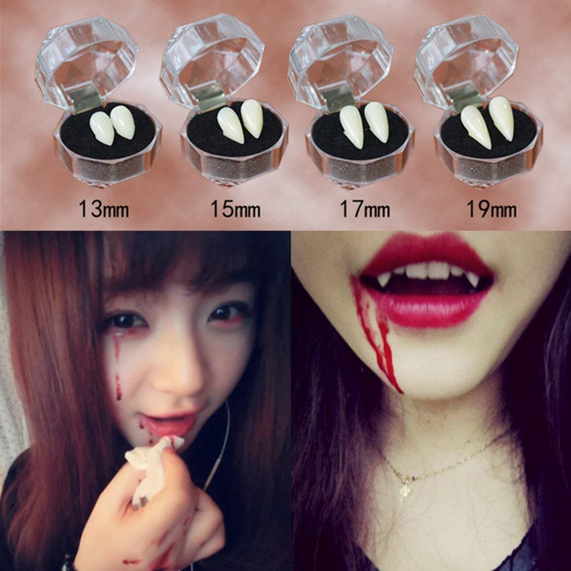 Garciakia Vampire Tooth Ghost Devil Fangs Dentures False Teeth Halloween Party Cosplay Props Decoration Costume Props Favors