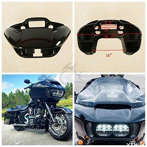 (TCMT ABS Vivid Black Inner Outer Headlight Fairing Fits For Harley Davidson Touring Road Glide FLTRX 2015-2019)