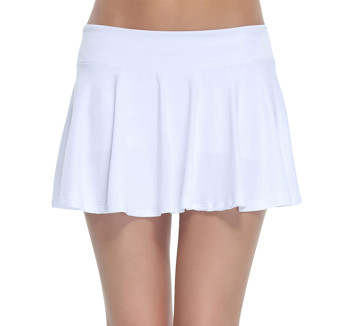 Women's Club Stretchy Tennis Skorts Pleated Cheerleader Skirt(White,XS)