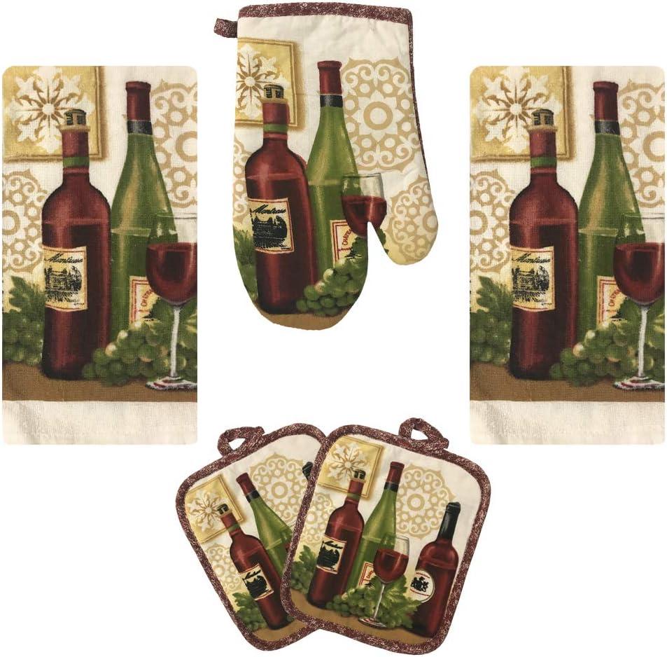Lobyn Value Packs Kitchen Towel 5 Piece Linen Set 2 Towels 2 Pot Holders 1 Oven Mitt (Wine)