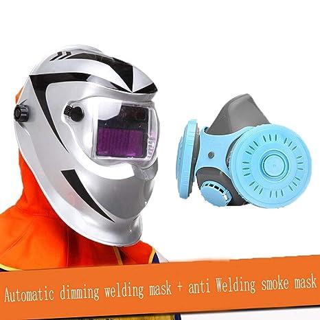 JNYZQ Máscara de Soldadura de atenuación automática Cabeza de Soldador Totalmente Equipada Casquillo de Soldadura de