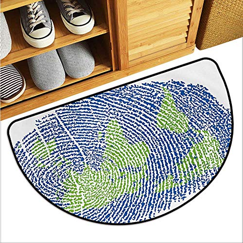 (warmfamily World Map Entrance Door mat Map of The World Fingerprint Style Continents Asia Europe Africa America Hard and wear Resistant W31 x L19 Navy Blue Green)