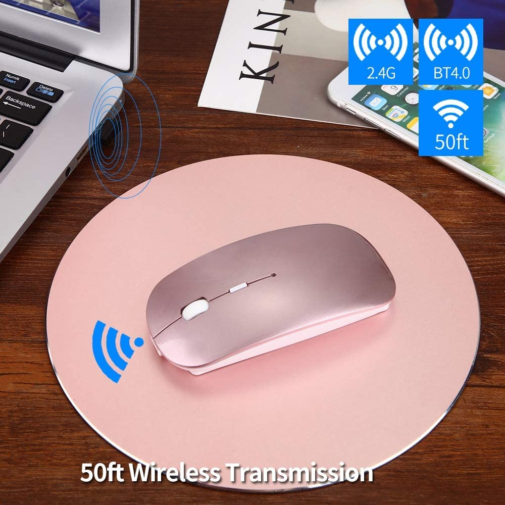 Bluetooth Wireless Mouse Windows,White Mac Dual Mode 4.0//2.4G Rechargeable Mute Ultra-Thin Wireless Ergonomic Game Wireless Mouse for PC Laptop Android