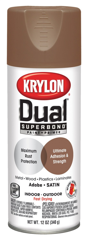 Krylon K08825001 'Dual' Superbond Paint and Primer, Satin Adobe, 12 Ounce