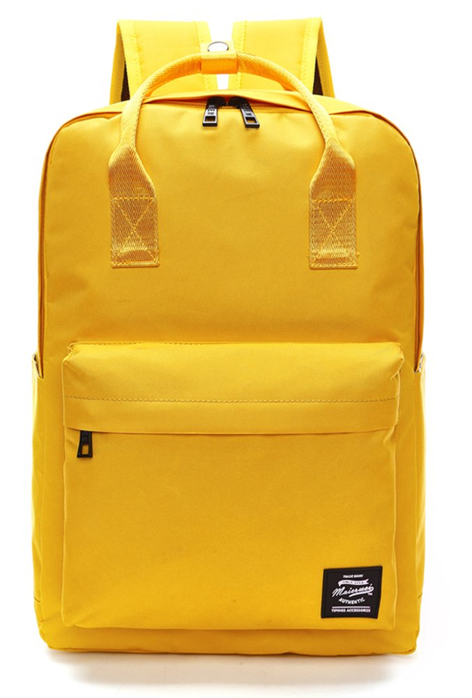 Pulama Solid Color Backpack Top Handle School Bag Canvas Shoulders Bag Yellow by PULAMA