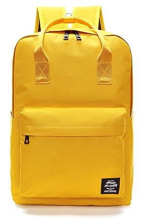 1c7d92e8ba45 Pulama Solid Color Backpack Top Handle School Bag Canvas Shoulders Bag  Yellow