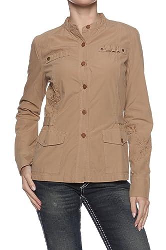 Earl Jean Chaqueta Jeans de Mujeres, Color: Marrón, Tamaño: S