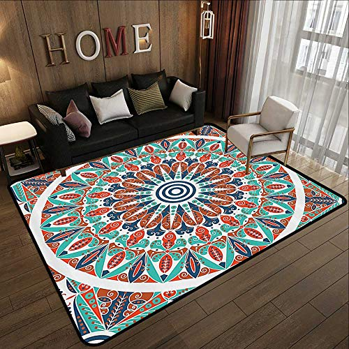 Large Classical Carpet,Moroccan Decor Collection,Floral Geometry Complex Design Medallion Middle Ages Symbolic Tribal Artwork,Teal Orange White 71