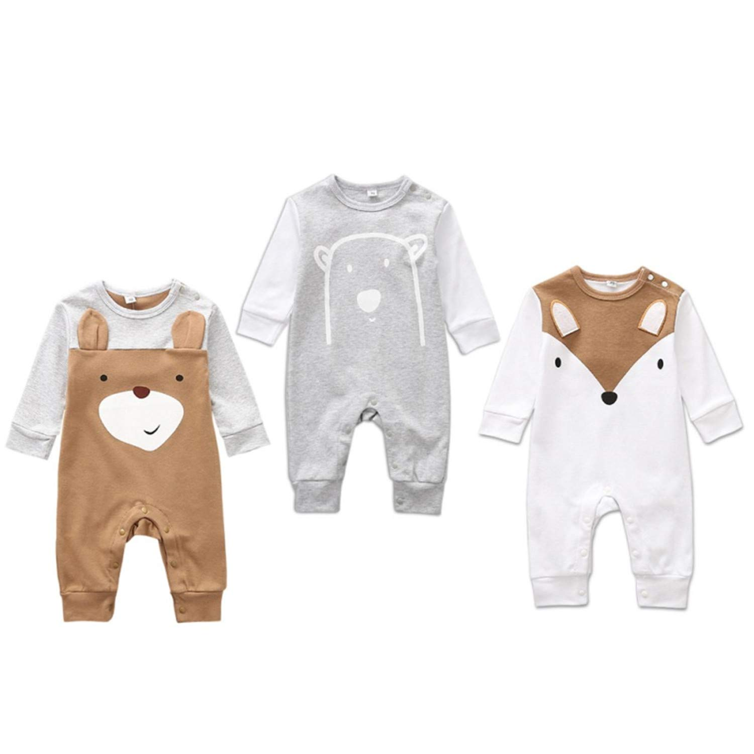 Newborn Baby Boys Romper Girls Playsuits Cotton Long Sleeve Animal Baby Clothes 0-12M