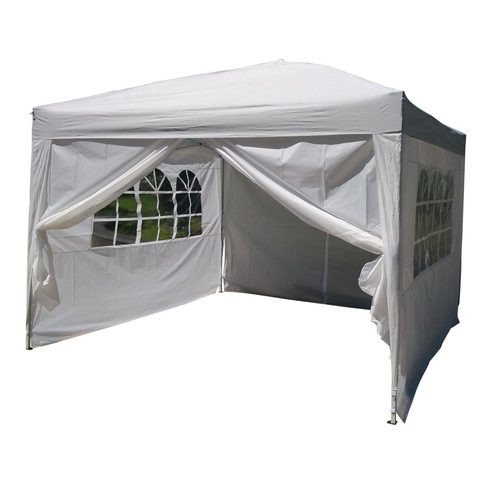 Z ZTDM 10' X 10' Easy Pop Up Canopy Tent, Portable Folding Gazebo for Outdoor Commercial Wedding BBQ Awning Shade Shelter with 4 Removable Sidewalls, Waterproof Heavy Duty (White)