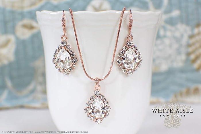 bb8173a3c Amazon.com: Vintage Style Rose Gold Wedding Jewelry Set Swarovski Crystal  Custom Pendant Earrings Bracelet Hair Comb Hair Pins Set: Handmade