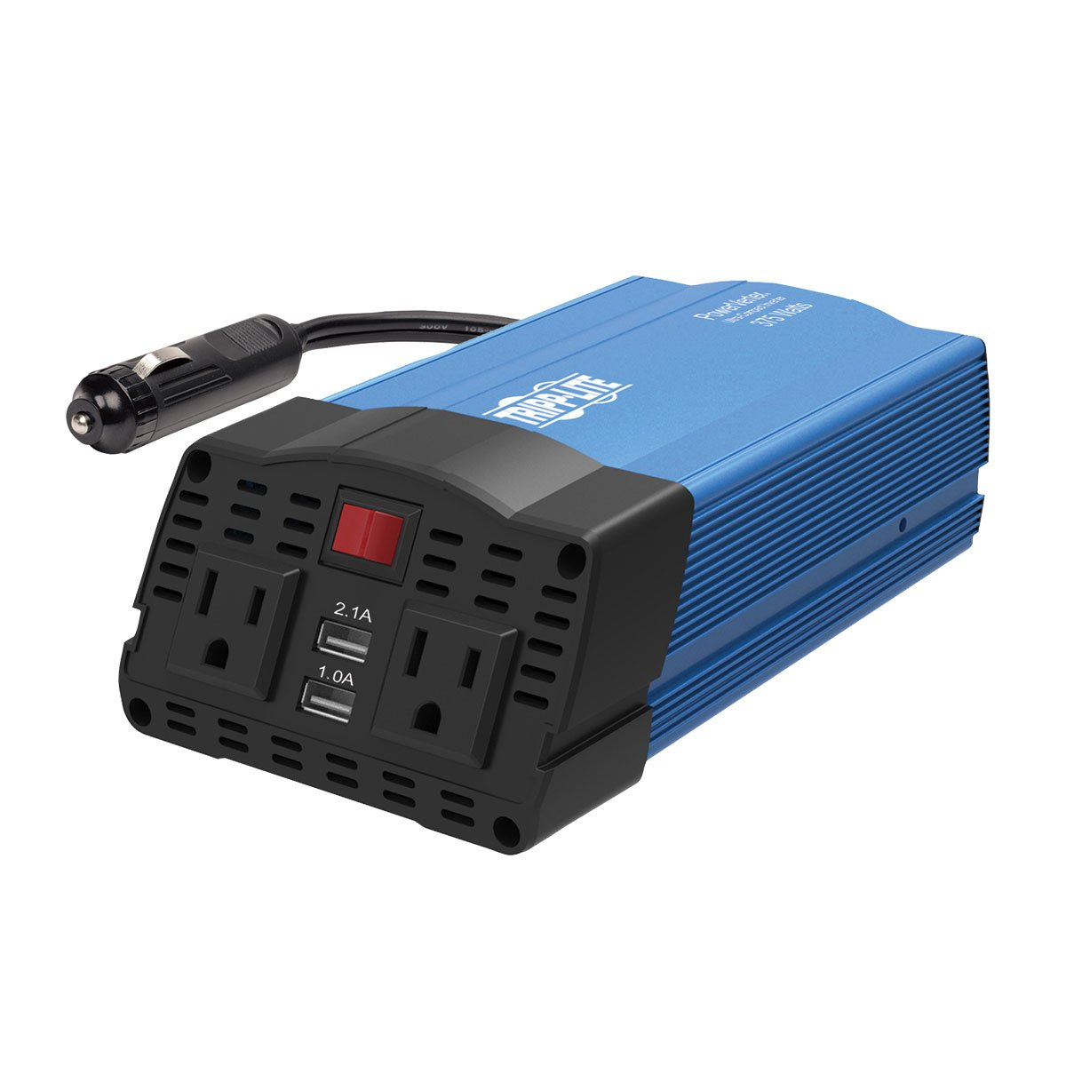Tripp Lite 375W Compact Portable Car Power Inverter 2 Outlet 12V DC to 120V AC w/ 2-Port USB Charging Ports (PV375USB)
