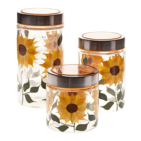 Walter Drake Sunflower Canisters Set Of 3 In Different Sizes Clear Glass With Painted Design Metal Lids