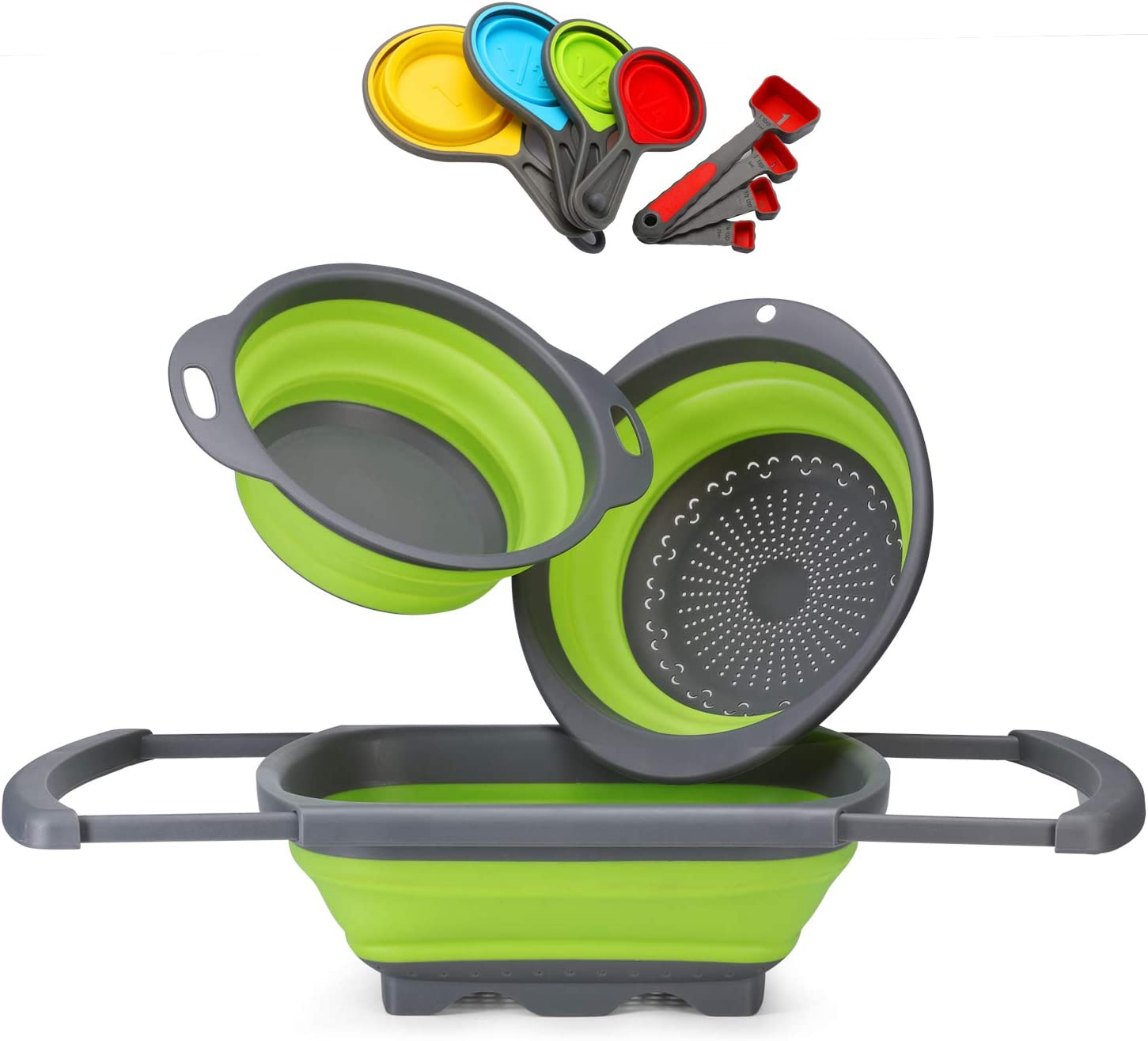Glotoch Silicone Collapsible Colander Set of 12-Includes 1pc 6 Quart Over the Sink Colander, 2pc 4 Quart Round Foldable Colander Strainer. 8 piece Measuring Cups and Spoons Set BPA Free Green