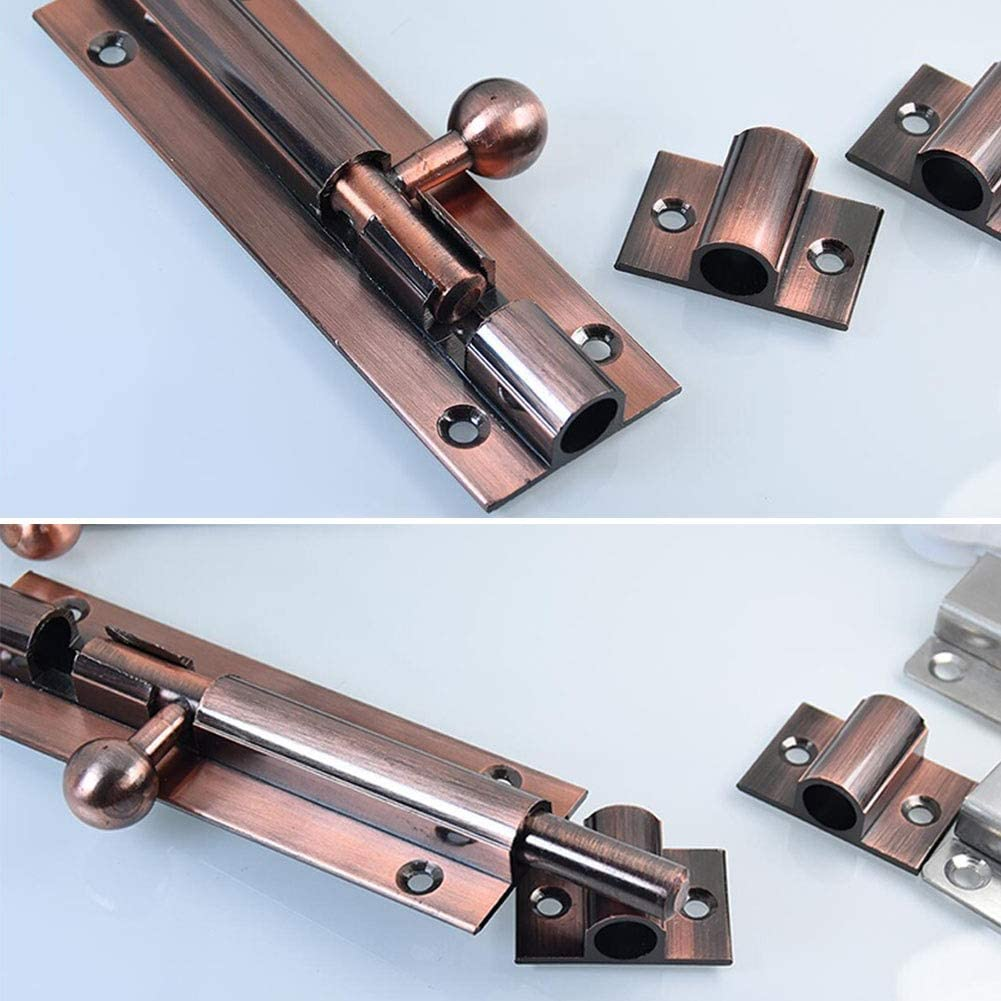 Size : 4 inch-100mm MUMA Latch Red Copper Aluminum Alloy Door Bolt Surface Mounted Anti-theft Corrosion Resistant Insert Lock Door Buckle