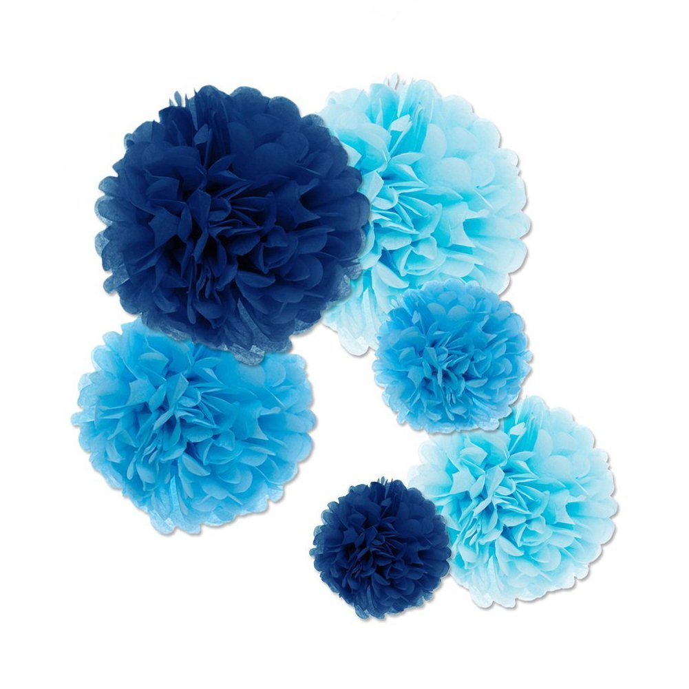 Fecedy 18pcs Tissue Paper Pom Poms Flower Ball for Wedding,Festival,Party Decoration (Blue)