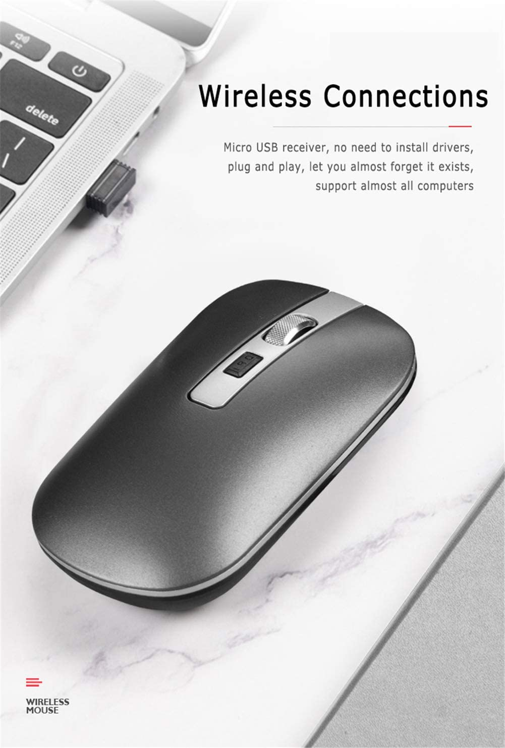 Ergonomic Design,Silver Bluetooth 5.1 Dual-Mode Wireless Rechargeable 1600 DPI Ultra-Thin Ergonomic Portable Optical Mouse 2 in 1 Wireless Mouse 2.4G
