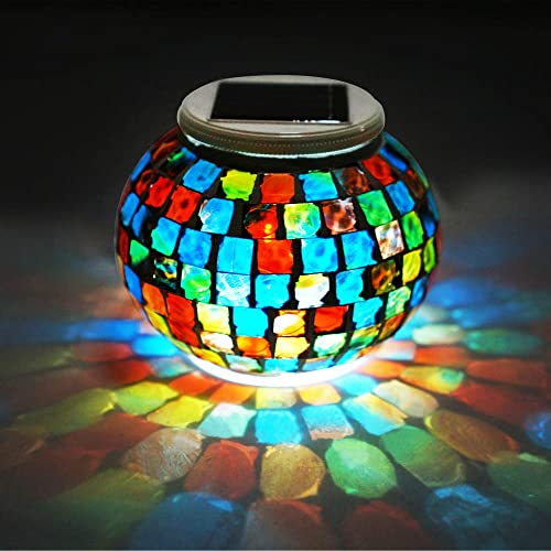 Solar Glass Ball Lights, LoveNite Solar Powered Color Changing Mosaic Crackled LED Garden Lights, Waterproof Table Night Lamps for Patio Garden Bedroom Table Decor Solar Lantern Lights Multi-colored