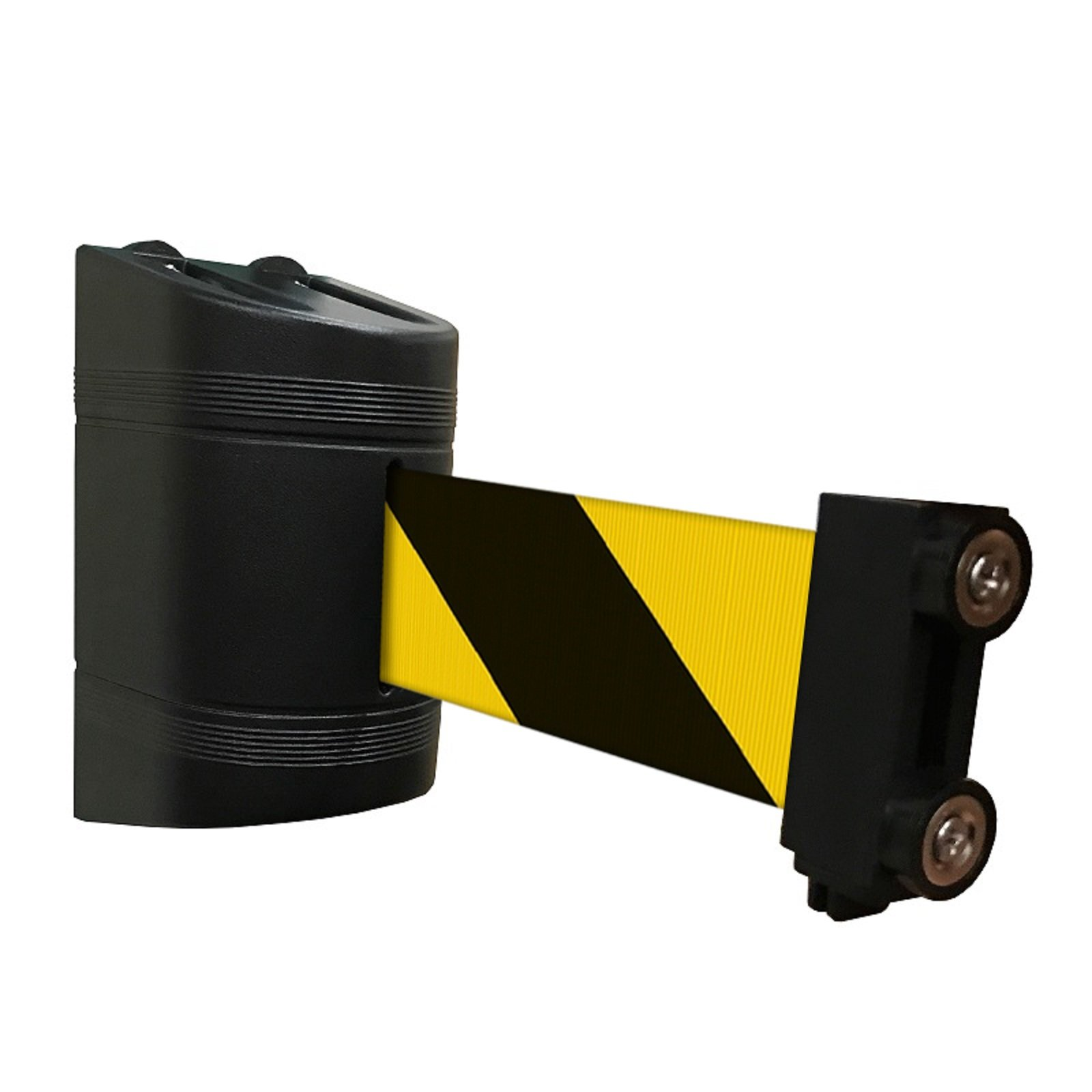 Magnetic Retractable Wall Barrier 120''L (YEL/Blk) by Crowd Control Center