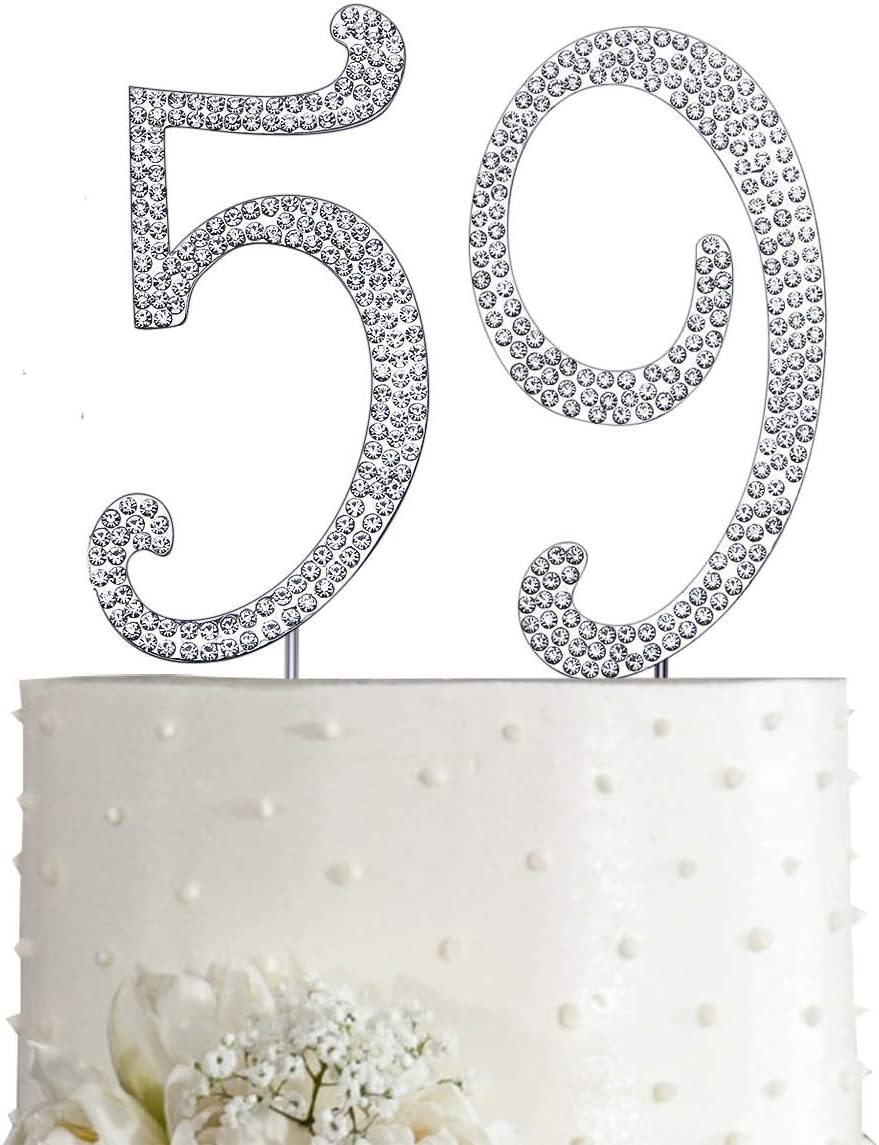 crystal topper for age rhinestone topper cake Crystal number on silver metal stem  5-7-12 cm  Birthday topper cake