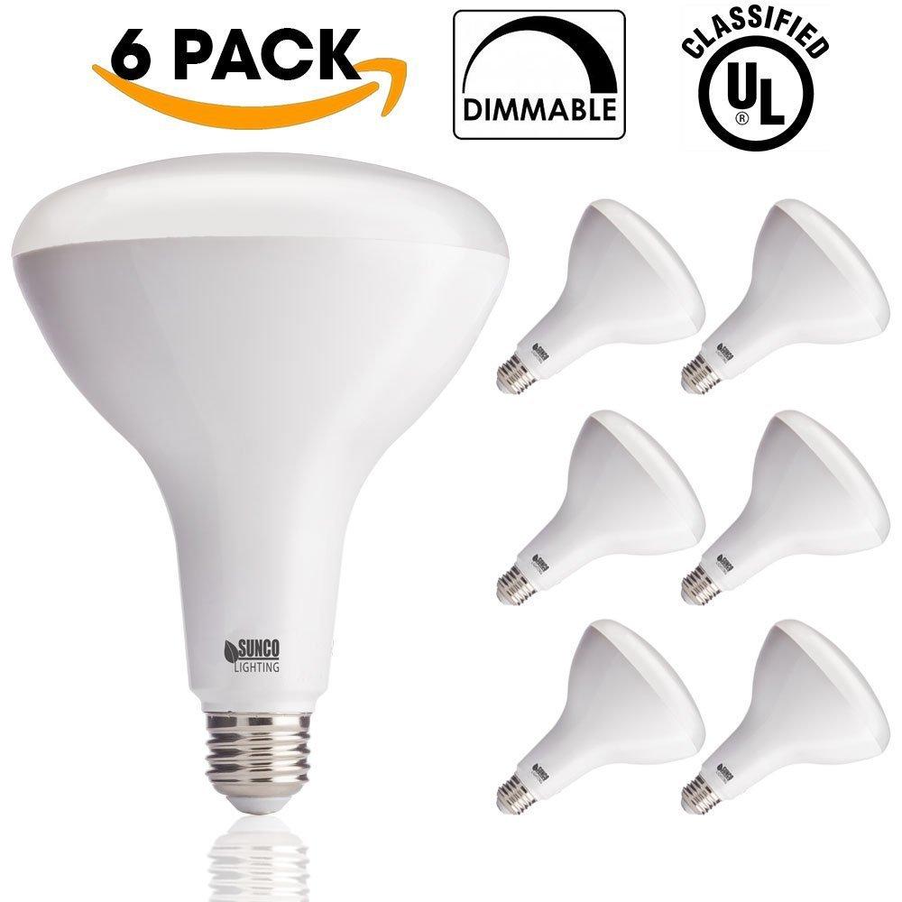 sunco lighting 6 pack br40 led 17 watt 100w equivalent 3000k warm white 726630035693 ebay. Black Bedroom Furniture Sets. Home Design Ideas
