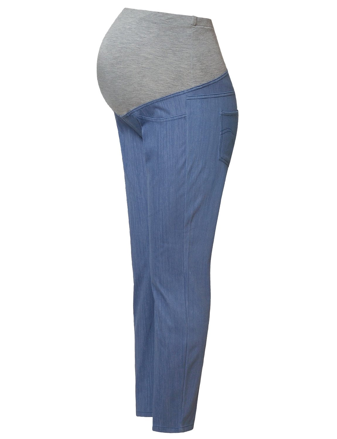 Maternity Jeans Pants Over The Belly Leggings Stretchy Skinny Leg Pants Blue Jeans S