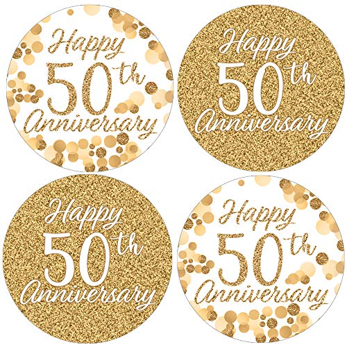Gold 50th Anniversary Party Favor Labels – 1.75 in – 40 Stickers