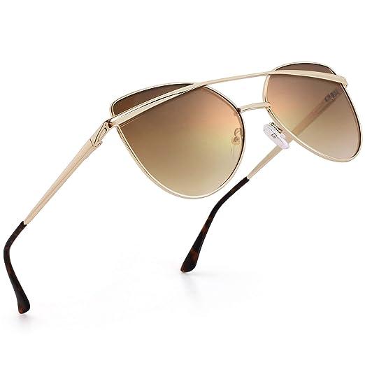 e46c3abbf LotFancy Vintage Cateye Sunglasses for Women with Case, UV400 Protection,  56MM, Retro Mirrored