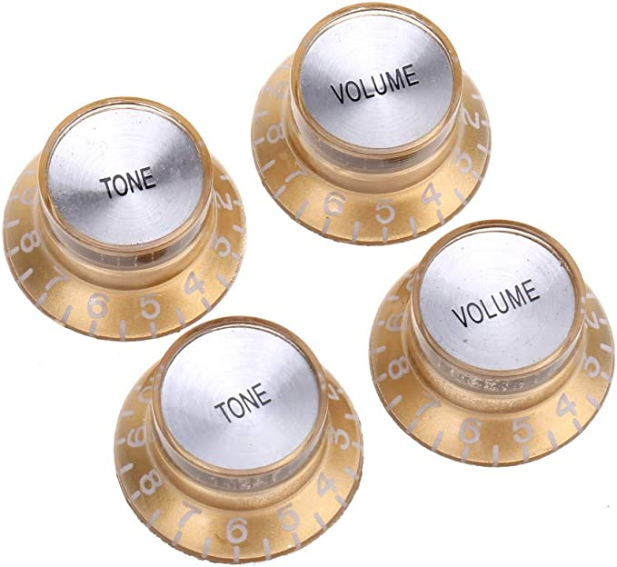 Black with Silver Top Musiclily Pro Imperial Inch Size Top Hat Bell Reflector 2 Volume 2 Tone Knobs Set for USA Les Paul SG Electric Guitar