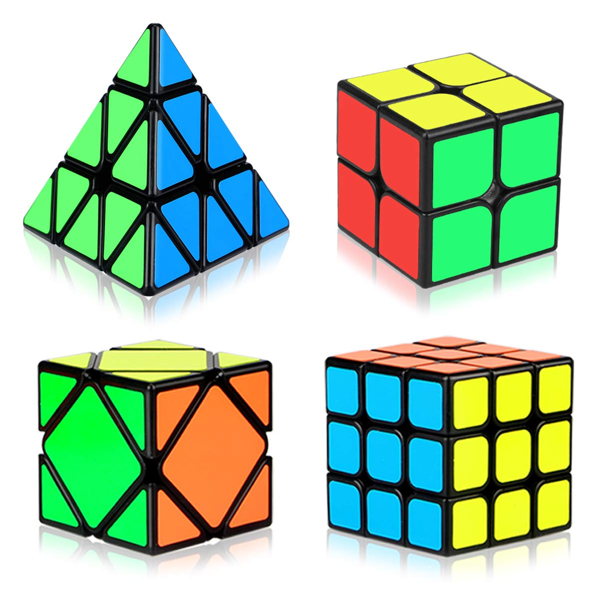 Speed Cube Set, Aitey Cube Bundle 2x2 3x3 Pyramid and Skew Speed Cube Magic Smooth Cube Puzzle Toy for Kids [4 Pack] by Aitey