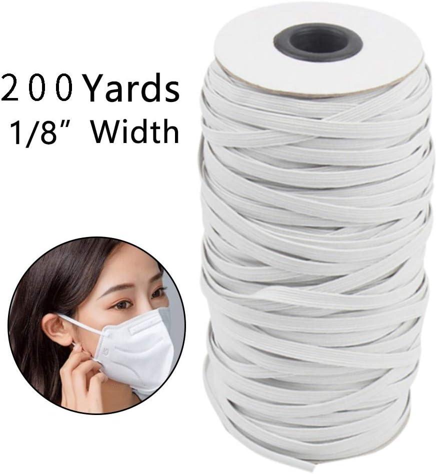 Alritz 1//8 Inch Width 200 Yard Length White Elastic Cord 3mm Braided Stretch Strap Cord Roll for Sewing Crafting DIY