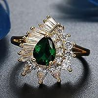 Wassana Women Fashion 14k Yellow Gold Filled Emerald Ring Wedding Jewelry Size 6-10 (6)
