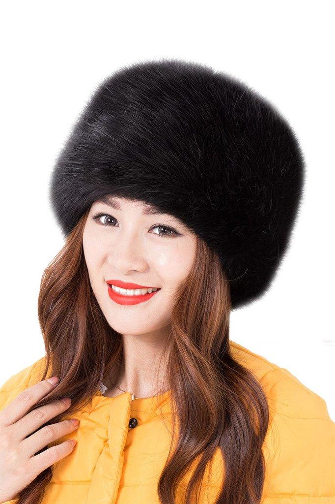 Tortor 1Bacha Women's Russian cossack Style Faux Fur Warm Winter Hat Black