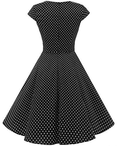 Mujer Años Black En Pico Retro Vestido White 50 Corto Escote Dot Vintage Small Bbonlinedress vEICgqnC