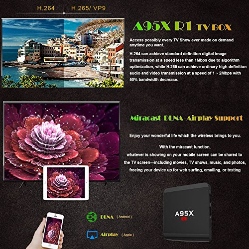 Edal Android 7.1 A95X R1 Amlogic 2G/16G Android TV BOX Quad-core Cortex-A53 Smart TV box by Edal (Image #5)