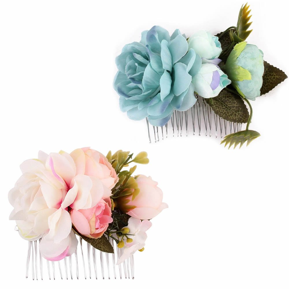 ISKYBOB Set of 2 Womens Big Flower Hair Comb Hair Clip Hairpin Wedding Party Bridal Floral Headpiece (Pink/Blue)