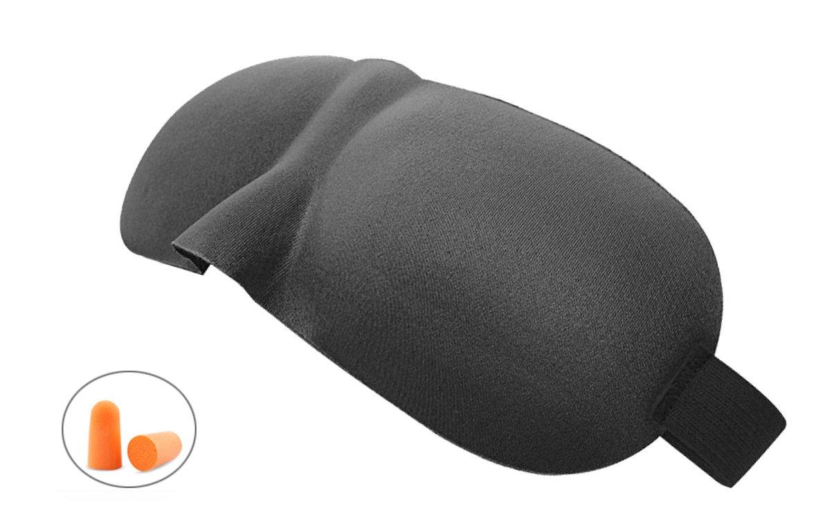 Sleep Eye Mask, Blindfold Eye Mask for Men Women Kids, 3D Sleeping Mask with Free Ear Plugs for Travel, Nap, Rest, Shift Work(Black) FLYTEAM